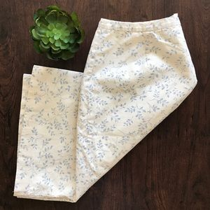 J. Crew 100% cotton skirt, ivory and blue twigs